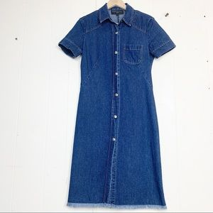 French Connection Raw Hem Denim Snap Button